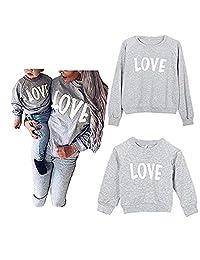 Mommy and Me Love 印花长袖套头 T 恤上衣家庭搭配休闲运动衫 T 恤服装