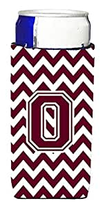 Caroline's Treasures CJ1051-OMUK Letter O Chevron Maroon and White Michelob Ultra Koozie for slim Cans, Multicolor