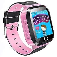 儿童 GPS 智能手表手机,1.44 英寸触摸屏智能手表手链适合儿童女孩男孩,带摄像头计步器防丢失 SOS 兼容 iPhone AndroidThemoemoe 粉红色