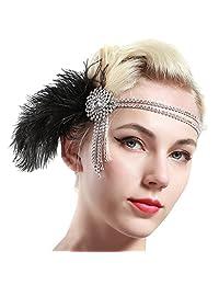 BABEYOND 1920 年代复古发箍 20s Great Gatsby 头饰黑色羽毛发带 1920 年代 Flapper Gatsby 发饰配件 适合派对舞会