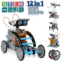 CIRO 太阳能机器人创建套件,12 合 1 儿童太阳能机器人套件,STEM 教育科学玩具与太阳能供电机动引擎和齿轮