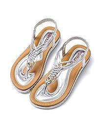 Socofy 女式凉鞋夏季沙滩人字拖女士波西米亚鞋弹性 T 型绑带平底凉鞋夹趾露跟休闲度假步行鞋防滑宽松版型
