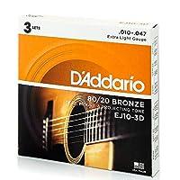 D'Addario 达里奥 原声吉他弦 80/20青铜 EJEJ10-3D 3セットパック