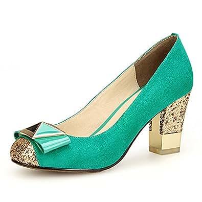 她遇 真皮女鞋蝴蝶结甜美单鞋女粗跟婚鞋红色高跟鞋子 湖水蓝 36