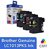 Brother Genuine Standard Yield 彩色墨盒,LC1013PKS,替换彩色墨盒,三件装,每盒 1 盒,青色、品红色和黄色,打印页数可达 300 页/盒,LC101