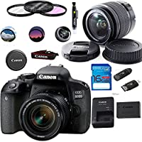 佳能 EOS 800D/Rebel T7i 数码单反相机带 18-55 IS STM 镜头黑色 - Deal-Expo 基本配件包