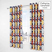 Catherine Lansfield 复古花卉易护理 *蓝 66x72 Inch Eyelet Curtains BD/49684/W/E6672/NA