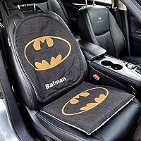 榕力 漫威四季亚麻卡通汽车用品坐垫 超级英雄可爱座套 通用座垫套装车垫子夏季办公室沙发座垫 (前排座垫, 蝙蝠侠)