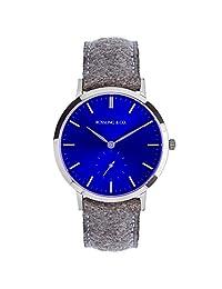 Rossling & Co.  石英男女适用手表 Modern 36mm - Aberdeen 蓝色表盘银色表壳(亚马逊进口直采,加拿大品牌)