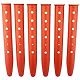 Orgrimmar 6 件橙色铝合金帐篷桩适用于露营/旅行/徒步/徒步/徒步旅行或其他户外活动沙子或雪地野餐棚棚棚棚帐篷桩