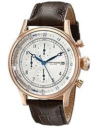 Akribos XXIV 男士 AK798RG 玫瑰色不锈钢手表棕色皮革表带