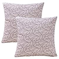 "Find-In-Find 纯色棉麻抱枕套沙发靠垫套(22x22 英寸,55 厘米) White Leaves 2pack 18""x18"",2Pack"