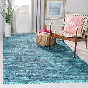 Safavieh Rag Rug Collection RAR121B Handmade Blue and Multicolored Cotton Area Rug, 3 feet by 5 feet (3' x 5')