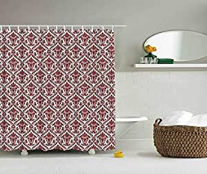 Damask Shower Curtain by Ambesonne, Victorian Style Theme Creative Special Selection Matelasse Effect Home Decoration Modern Bathroom Art Decor Interior Digital Print Fabric, Red and White