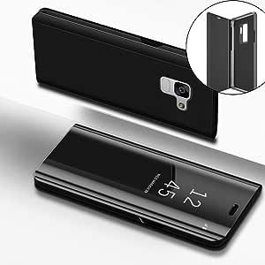 LEECOCO 手机壳Galaxy S9 闪耀耀耀浮动水晶花卉印花花朵 TPU 硅胶缓冲防震保护套三星 Galaxy S9 M] Black Mirror PU