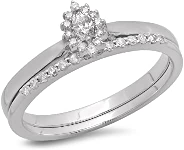 0.25 Carat (ctw) 10K White Gold Marquise & Round Cut Diamond Halo Engagement Ring Set 1/4 CT (Size 7)