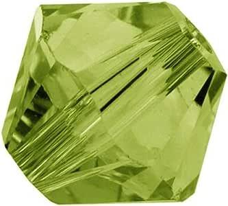 100 颗 Preciosa 双锥体水晶珠 6 毫米双锥体珠适用于施华洛世奇水晶 5301/5328 您挑选颜色 Olivine Green 750253024437