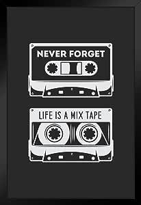 海报 Foundry Never Forget Life is A Mix 胶带 复古音频盒艺术打印 ProFrames 出品 裱框海报 14x20 inches 216332