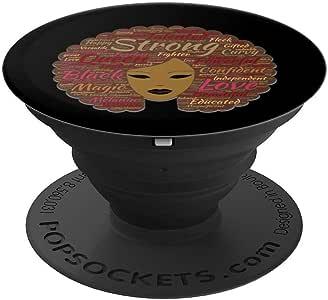 Afro Word Art 黑色历史月自然* - PopSockets 手机和平板电脑抓握支架260027  黑色