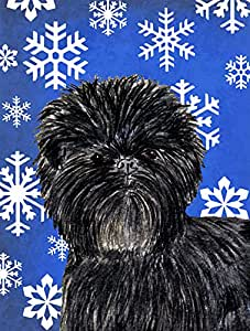 Affenpinscher Winter Snowflakes Holiday Flag 多色 大