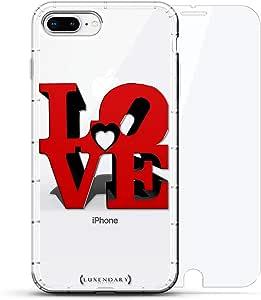 豪华设计师,3D 印花,时尚,气袋垫,360 玻璃保护膜套装手机壳 iPhone 8/7 Plus - 透明LUX-I8PLAIR360-LOVE2 LOVE 3D SIGN 透明