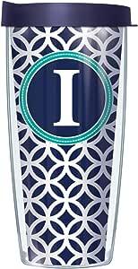 *圆形字母首字母旅行杯,带盖子 I 22盎司 08-ROU1-LB-I+L