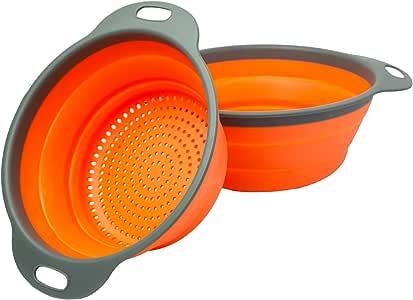 Comfify Colander 2 个可折叠滤水器 (运动鞋) 套装 - 包括 2 个折叠硅胶过滤器 尺寸 8 英寸 - 2 夸脱和 9.5 英寸 - 3 夸脱红色和灰色 Orange/Gray CM201411-OR