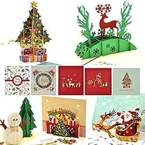 eZAKKA 圣诞卡 节日贺卡 带信封 适合圣诞节快乐 新年 3d Christmas Cards
