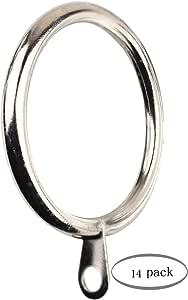 Meriville 14 件 3.81 厘米内径金属窗帘环带孔眼,适合*大 3.18 厘米杆 亮灰色(Satin Nickel) Set of 14 unknown