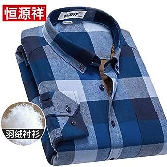 恒源祥冬季男士羽绒衬衣纯棉中年爸爸装冬装加绒长袖衬衫商务休闲C601蓝色1号 170/88A