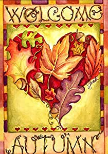 Toland Home Garden Autumn Welcome 12.5 x 18 Inch Decorative Colorful Fall Leaf Heart Garden Flag