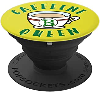 Caffeine Queen Monogram Initial B 咖啡礼物冰袜手柄和支架 适用于手机和平板电脑260027  黑色