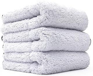 THE RAG COMPANY 16 英寸(约 40.6 厘米) x 16 英寸(约 40.6 厘米) Everest 白色双毛绒专业韩版 70/30 超细纤维细节毛巾 16x16 1100gsm 白色 11111-KIT-PRO-1616-EVEREST1100-3PK