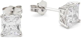 Myia Passiello Myia Passiello 精品银公主型切割方晶锆石 4.134 克拉耳钉耳环