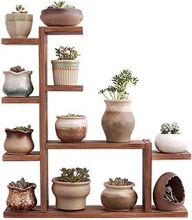 Echaprey 木质植物架 4 层桌面植物架 小型多层植物架 木制室内户外多肉植物盆装饰(碳化色)