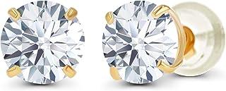 10K 纯黄色、白色或玫瑰金 4mm 圆形真宝石诞生石耳钉