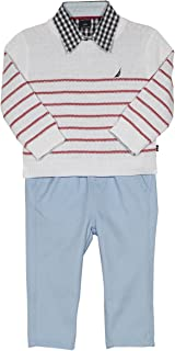 Nautica Baby Boys 3 Piece Woven Sweater Set