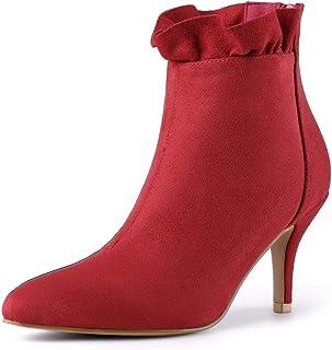 Allegra K 女式尖头细高跟荷叶边及踝靴