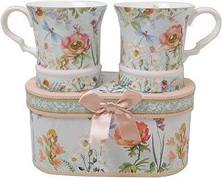 Lightahead 优雅骨瓷制独特两件套咖啡茶杯 283.50 克每杯装精美礼盒优雅花卉设计