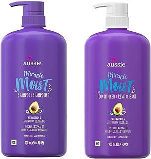 Aussie 艾希亚 保湿洗发水和护发素   适用于干发,不含防腐剂,含牛油果和荷荷巴油,适合干发   每瓶 30.4 液体盎司(约 78.0 毫升)