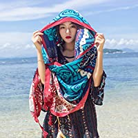 Spring home 民族风棉麻围巾丝巾夏季海边旅游防晒沙滩巾披肩 (绿色几何披巾一条)