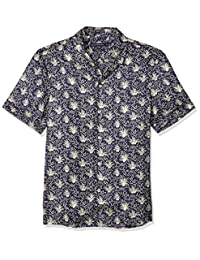 French Connection 男士短袖印花常规款系扣衬衫