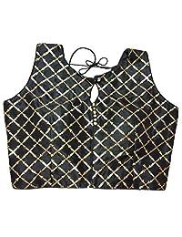 女装上衣莎丽服短袖上衣和纱丽上衣成品印度丝绸全纱丽颜色搭配女衬衫 R6 黑色
