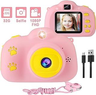 兒童相機,1080P 8MP 自拍數字女孩兒童相機帶 32GB SD 卡兒童視頻相機生日/圣誕節/新年玩具禮物 3 4 5 6 7 8 9 10 歲女孩(粉色)