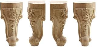 WEICHUAN 实心未加工雕刻木质家具腿替换沙发沙发沙发椅坐垫沙发双人咖啡桌橱柜家具木腿木脚(10 英寸(约 25.4 厘米) 4 件套
