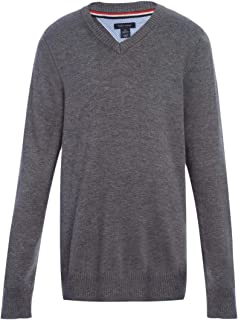 Tommy Hilfiger Long Sleeve Boys V-Neck Sweater, Kids School Uniform Clothes, Pullover