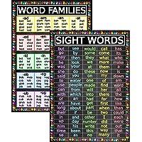 Sight Words and Word Families 海报 - 层压 14x19.5 - 教育图表、教室海报和装饰品、返校用品、学前和幼儿园学习海报、家庭学校装饰