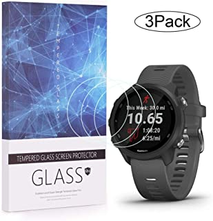 Elecguru 3 件装钢化玻璃屏幕保护膜兼容Garmin Forerunner 245,2.5D 9H 硬度防刮智能手表钢化玻璃膜