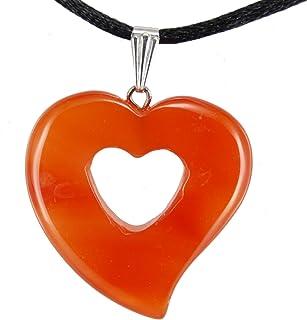 Steampunkers 美国大心形系列 - 30 毫米双红玛瑙,橙色 - 50.8-55.88 厘米可调节黑色绳 - 水晶宝石雕刻项链魅力手工制作
