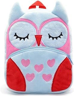 可爱幼儿背包幼儿包毛绒动物卡通迷你旅行包适合2-6岁女婴男孩(猫头鹰蓝色)